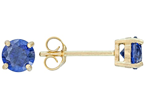 .56ctw Blue Cubic Zirconia 18k Yellow Gold Over Sterling Silver Stud Earrings