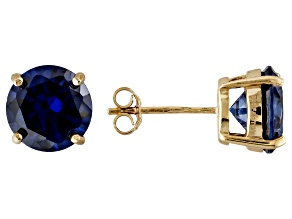 1.74ctw Blue Cubic Zirconia 18k Yellow Gold Over Sterling Silver Stud Earrings