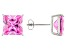 1.70ctw Pink Cubic Zirconia Sterling Silver Princess Stud Earrings