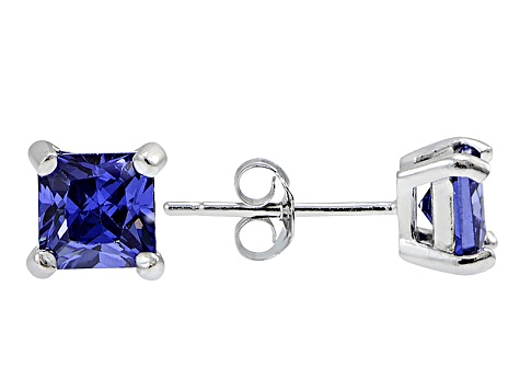 .84ctw Blue Cubic Zirconia Rhodium Over Sterling Silver Princess Stud Earrings