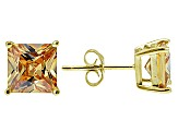 1.02ctw Champagne Cubic Zirconia 18k Yellow Gold Over Sterling Silver Earrings