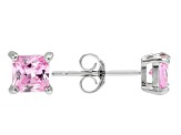 .73ctw Pink Cubic Zirconia Rhodium Over Sterling Silver Princess Stud Earrings