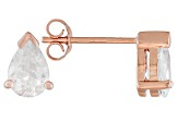 .93ctw Cubic Zirconia 18k Rose Gold Over Sterling Silver Stud Earrings