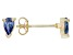 .66ctw Blue Cubic Zirconia 18k Yellow Gold Over Sterling Silver Stud Earrings