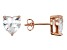 .90ctw Cubic Zirconia 18k Rose Gold Over Sterling Silver Heart Stud Earrings