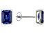 1.28ctw Blue Cubic Zirconia Rhodium Over Sterling Silver Stud Earrings