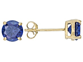 2.00ctw Blue Cubic Zirconia 18k Yellow Gold Over Sterling Silver Stud Earrings