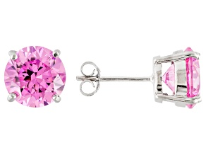 8.89ctw Pink Cubic Zirconia Rhodium Over Sterling Silver Round Stud Earrings