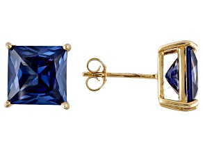 1.70ctw Blue Cubic Zirconia 18k Yellow Gold Over Sterling Silver Stud Earrings
