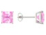 1.28ctw Pink Cubic Zirconia Sterling Silver Princess Stud Earrings