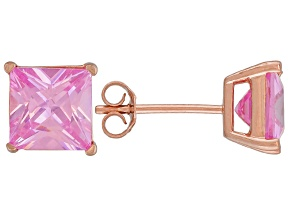 1.28ctw Pink Cubic Zirconia 18k Rose Gold Over Sterling Silver Stud Earrings