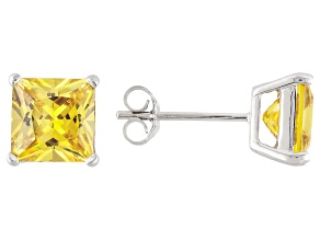 1.28ctw Yellow Cubic Zirconia Sterling Silver Princess Stud Earrings