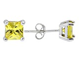 .84ctw Yellow Cubic Zirconia Sterling Silver Princess Stud Earrings
