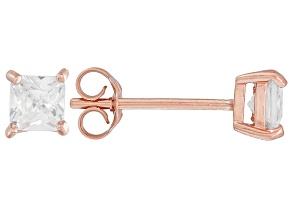 .73ctw Cubic Zirconia 18k Rose Gold Over Sterling Silver Princess Stud Earrings