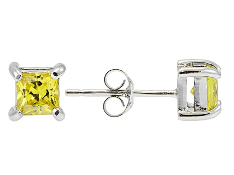 5d9d782b1 .73ctw Yellow Cubic Zirconia Sterling Silver Princess Stud Earrings -  BLI599 | JTV.com
