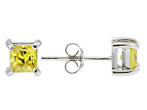 .73ctw Yellow Cubic Zirconia Sterling Silver Princess Stud Earrings