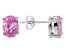 1.28ctw Pink Cubic Zirconia Rhodium Over Sterling Silver Oval Stud Earrings