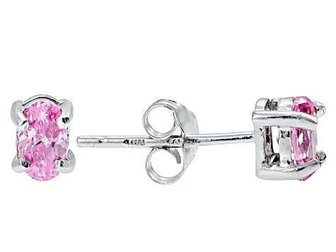 .70ctw Pink Cubic Zirconia Rhodium Over Sterling Silver Oval Stud Earrings