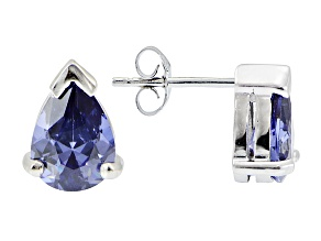 .93ctw Blue Cubic Zirconia Rhodium Over Sterling Silver Stud Earrings