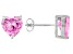 .90ctw Pink Cubic Zirconia Rhodium Over Sterling Silver Heart Stud Earrings
