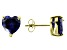 1.22ctw Blue Cubic Zirconia 18k Yellow Gold Over Sterling Silver Stud Earrings