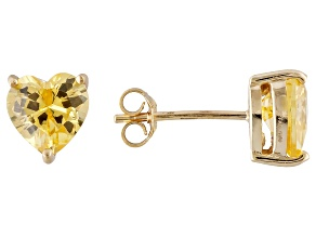1.22ctw Yellow Cubic Zirconia 18k Yellow Gold Over Sterling Silver Stud Earrings