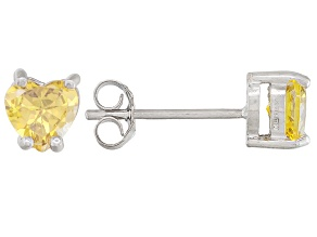 .81ctw Yellow Cubic Zirconia Rhodium Over Sterling Silver Heart Stud Earrings