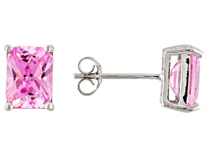 1.28ctw Pink Cubic Zirconia Rhodium Over Sterling Silver Stud Earrings
