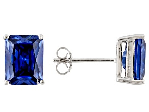 1.46ctw Blue Cubic Zirconia Rhodium Over Sterling Silver Stud Earrings