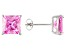 1.24ctw Pink Cubic Zirconia Sterling Silver Princess Stud Earrings