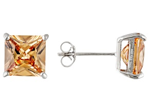 1.24ctw Champagne Cubic Zirconia Sterling Silver Princess Stud Earrings