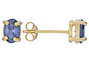 .79ctw Blue Cubic Zirconia 18k Yellow Gold Over Sterling Silver Stud Earrings