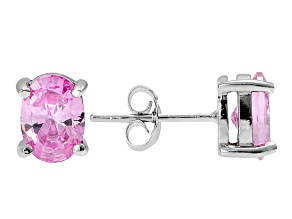 1.08ctw Pink Cubic Zirconia Rhodium Over Sterling Silver Oval Stud Earrings