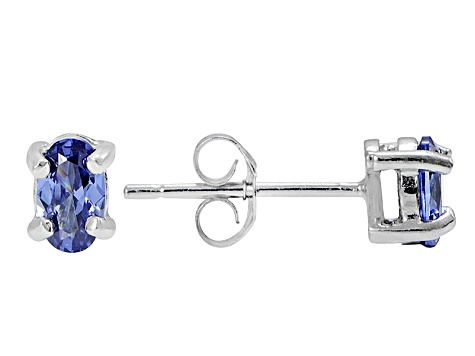 .70ctw Blue Cubic Zirconia Rhodium Over Sterling Silver Oval Stud Earrings