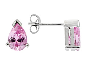 .93ctw Pink Cubic Zirconia Rhodium Over Sterling Silver Stud Earrings