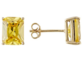 1.46ctw Yellow Cubic Zirconia 18k Yellow Gold Over Sterling Silver Stud Earrings