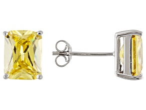 1.46ctw Yellow Cubic Zirconia Rhodium Over Sterling Silver Stud Earrings