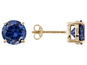 1.26ctw Blue Cubic Zirconia 18k Yellow Gold Over Sterling Silver Stud Earrings
