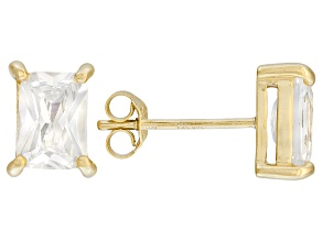 .99ctw Cubic Zirconia 18k Yellow Gold Over Sterling Silver Stud Earrings