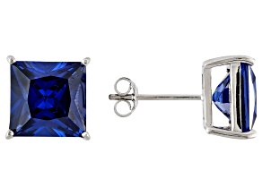 1.70ctw Blue Cubic Zirconia Sterling Silver Princess Stud Earrings