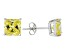 1.02ctw Yellow Cubic Zirconia Sterling Silver Princess Stud Earrings