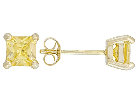 .84ctw Yellow Cubic Zirconia 18k Yellow Gold Over Sterling Silver Stud Earrings