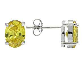 1.28ctw Yellow Cubic Zirconia Rhodium Over Sterling Silver Oval Stud Earrings