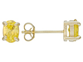 .79ctw Yellow Cubic Zirconia 18k Yellow Gold Over Sterling Silver Stud Earrings