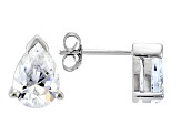 .93ctw Cubic Zirconia Rhodium Over Sterling Silver Pear Shape Stud Earrings
