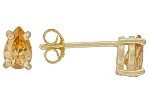 .83ctw Champagne Cubic Zirconia 18k Yellow Gold Over Sterling Silver Earrings