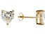 .90ctw Cubic Zirconia 18k Yellow Gold Over Sterling Silver Heart Stud Earrings