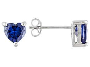 .92ctw Blue Cubic Zirconia Rhodium Over Sterling Silver Heart Stud Earrings