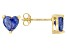 .92ctw Blue Cubic Zirconia 18k Yellow Gold Over Sterling Silver Stud Earrings