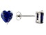 1.22ctw Blue Cubic Zirconia Rhodium Over Sterling Silver Heart Stud Earrings